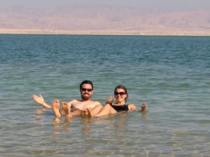 Floating in the dead sea...in winter! The smiles are just a cover up of the cold we were feeling!!