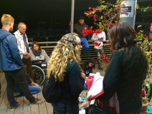 Chatting to locals during street ministry in Tiberias